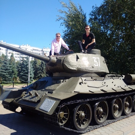 Jim Long and Spencer Long at the Battle of Kursk Museum
